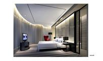 酒店曲型玻璃墙面套房效果图