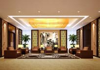 酒店中式贵宾休息室效果图 JPG