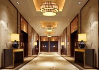 酒店中式会议室走廊效果图