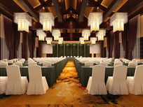 酒店中式绿色桌布会议室效果图