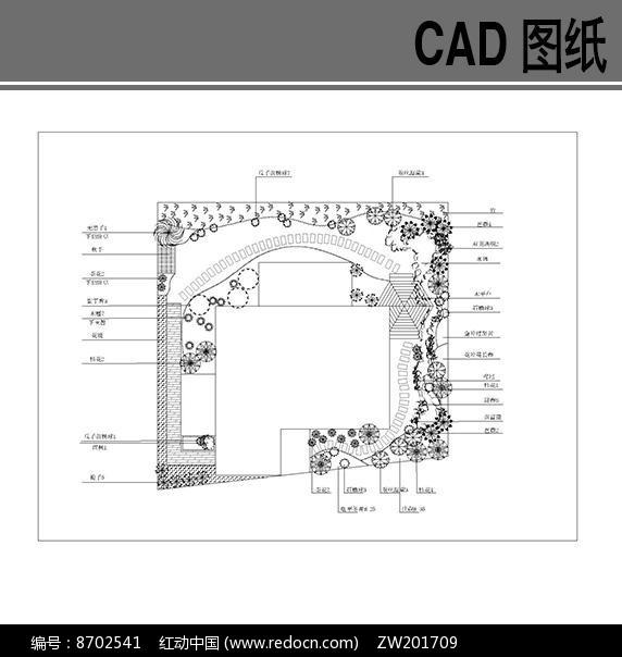 某别墅庭院绿化平面图dwg素材下载 CAD总平设计图片