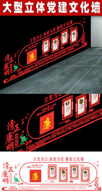 清正廉洁党建文化墙 CDR