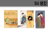日式古典图案窗帘