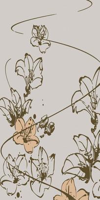 手绘百合花玄关背景墙壁画图片