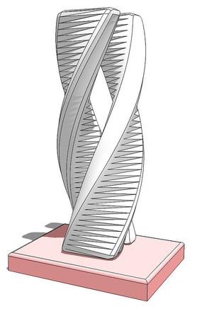 双螺旋雕塑su模型