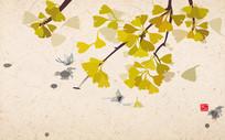 新中式手绘银杏工笔画蝴蝶背景墙