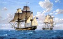 一帆风顺航海船油画艺术背景墙