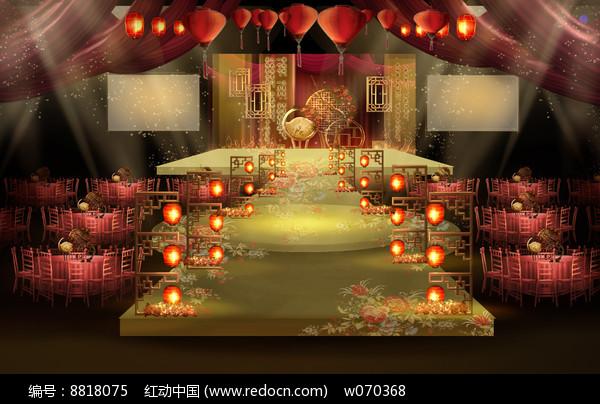优雅火红中式婚礼效果图图片