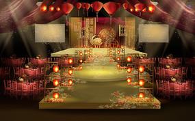 优雅火红中式婚礼效果图