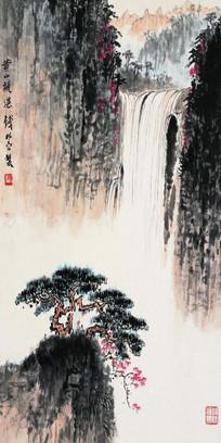 中式水墨山水瀑布景观装饰画