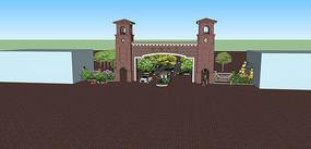 暗红色石砖铁道家园门口