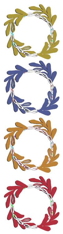 创意树叶花框边框背景素材
