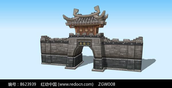 古建筑城门入口SU模型图片