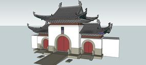 古建筑寺庙山门SU模型设计