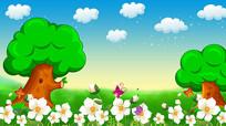 卡通森林花儿云彩