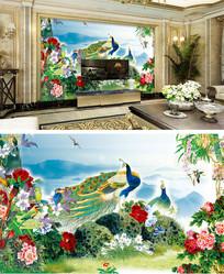 孔雀牡丹花开富贵背景墙