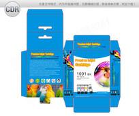 蓝色炫彩喷墨打印机墨盒包装设计