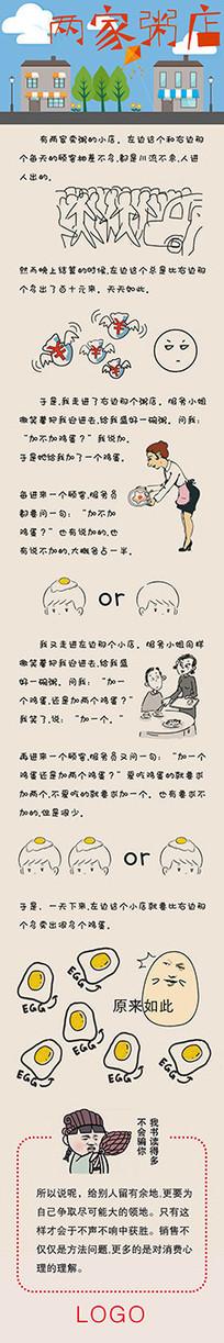 两家粥店微信推送励志故事长图 PSD