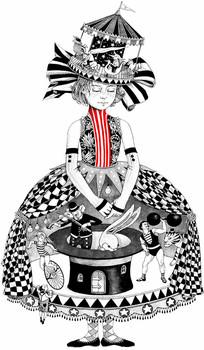 马戏团女孩图案 PSD