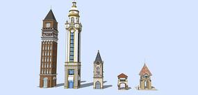 欧式教堂建筑和门卫亭