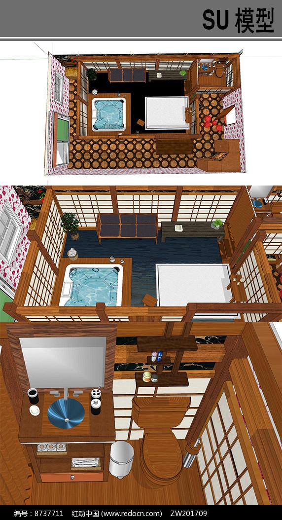 日式古典超大浴室图片