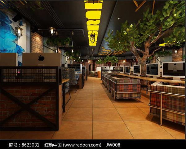 森林风网咖大厅效果图jpg素材下载_室内装修设计图片