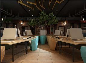 森林风网咖曲型桌效果图