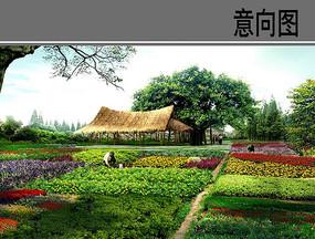 湿地公园茅草屋意向图 JPG