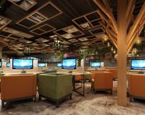 天花相框装饰网咖大厅效果图