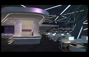 现代风格网咖大厅效果图