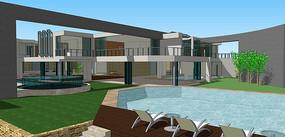 现代高档别墅模型