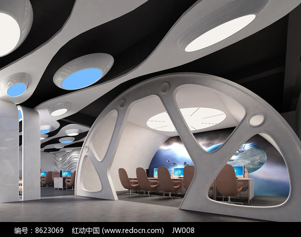 现代太空机舱网咖包厢效果图图片