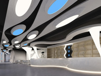 现代太空机舱网咖吧台效果图