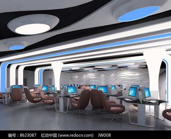 现代太空机舱网咖效果图图片
