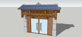 现代中式木制石材门头SU模型