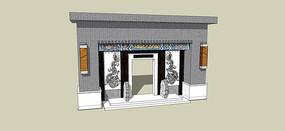 新中式住宅入口门模型