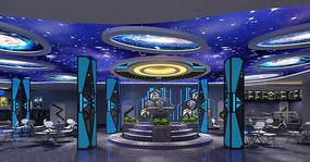宇宙星球风网咖休憩区效果图
