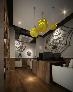 蜘蛛网装饰网咖包间效果图