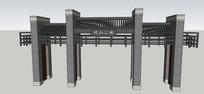 中式公园入口大门模型