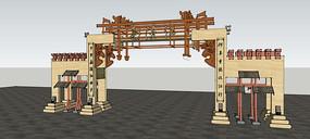 中式古典出入口模型