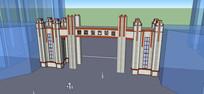 住宅区景观出入口大门模型