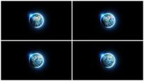 蓝色光斑地球视频带A通道