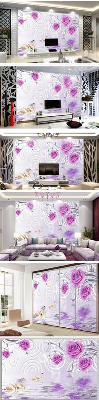 玫瑰花天鹅戏水立体背景墙图片
