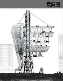 高科技建筑剖面图