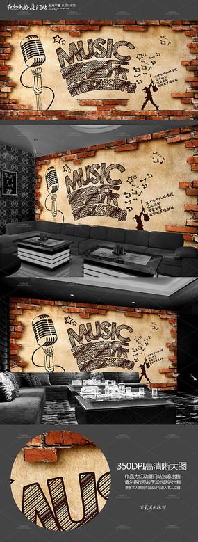 怀旧KTV会所背景墙墙画展板