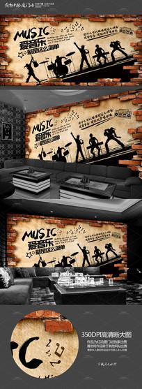 怀旧KTV音乐背景墙墙画
