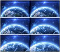 蓝色宇宙星空地球背景视频