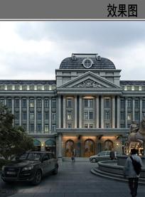 欧式会所建筑 PSD