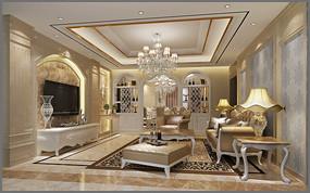 欧式客厅设计模型