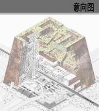 梯形创意建筑剖面图